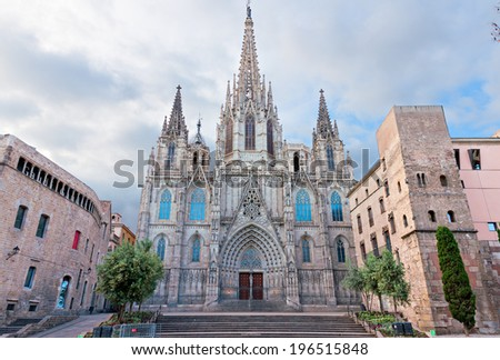 BARCELONA, SPAIN - MAY 2: Barcelona Cathedral on May 2, 2014 in Barcelona. Barcelona Cathedral was constructed from the 13th to 15th centuries in Gothic style. - stock photo