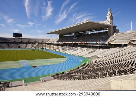 BARCELONA, SPAIN - MAY 10: Board above empty tribunes on Barcelona Olympic Stadium on May 10, 2010 in Barcelona, Spain. - stock photo