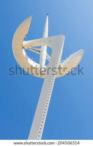 Barcelona, Spain - May 9, 2014: Calatrava's telecommunications tower of the olympic village in Barcelona, Catalonia, Spain. The tower is owned by Telefonica
