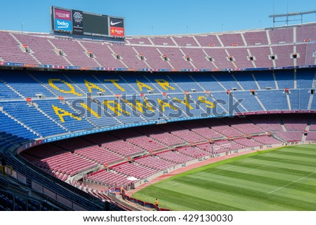 BARCELONA, SPAIN - MAY 28, 2016: CAMP NOU. Panoramic view of the Camp Nou. The stadium of Football Club Barcelona team.