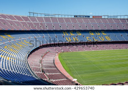 BARCELONA, SPAIN - MAY 28, 2016: CAMP NOU. Panoramic view of the Camp Nou. The stadium of Football Club Barcelona team.  - stock photo