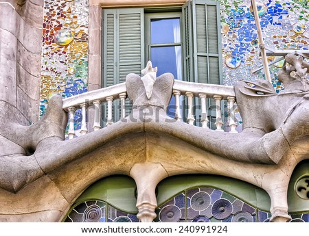 BARCELONA, SPAIN - MAY 24: Casa Batllo Facade. The famous building designed by Antoni Gaudi is one of the major touristic attractions in Barcelona. May 24, 2005 in Barcelona, Spain. - stock photo