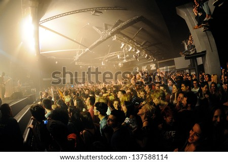 BARCELONA, SPAIN - MAY 4: Fans of Bloc Party band  at Razzmatazz Clubs on May 4, 2013 in Barcelona, Spain. - stock photo