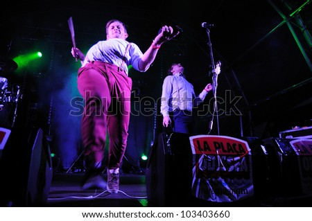 BARCELONA, SPAIN - MAY 11: FM Belfast band performs at Maremagnum on May 11, 2012 in Barcelona, Spain. La Pla�§a Odissea Festival. - stock photo
