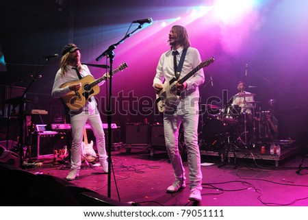BARCELONA, SPAIN - MAY 20: Friska Viljor band performs at Razzmatazz on May 20, 2011 in Barcelona, Spain. - stock photo