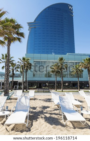 Barcelona, Spain - May 16, 2014: Frontal view of the W Barcelona Hotel, designed by Architect Ricardo Bofill