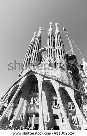 BARCELONA, SPAIN - MAY 8.2009: La Sagrada  Familia - the impressive cathedral designed by Gaudi, which is being build since 19 March 1882 and is not finished yet - stock photo