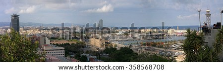 Barcelona, Spain - May 17, 2014: Panorama of the City of Barcelona in late spring.