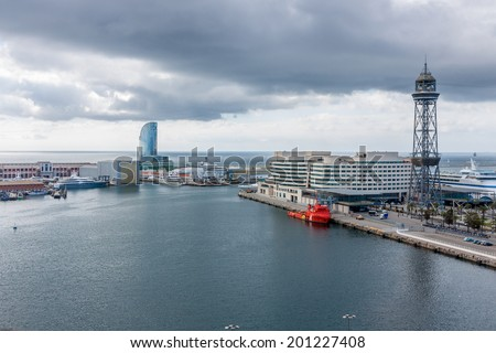 BARCELONA, SPAIN - MAY 2: Port Vell on May 2, 2014 in Barcelona. Port Vell and World Tade Center - one of main attractions in Barcelona.  - stock photo