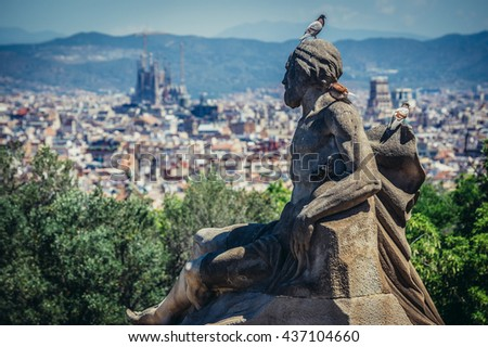 Barcelona, Spain - May 22, 2015. Statue in front of National Art Museum of Catalonia, Barcelona, Spain