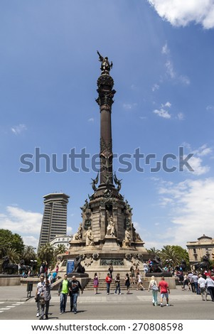 BARCELONA, SPAIN -  MAY 16 2014: The Columbus Monument a statue by Rafael Atche  Catalonia, The Columbus Monument is a 60 m tall monument to Christopher Columbus at the lower end of La Rambla. - stock photo