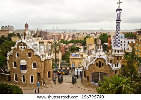 Barcelona, Spain - May 10, 2013: view of Parc Guell, is a public park, one of the symbolic monuments of the Catalan city, designed by Antoni Gaudi.
