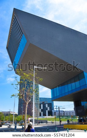 BARCELONA, SPAIN - MAY 22, 2016: View of the city architecture on May 22, 2016.