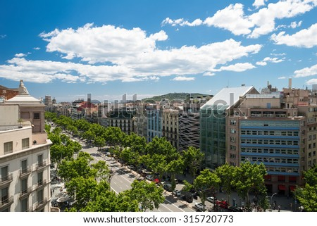 BARCELONA, SPAIN - MAY 30 2013:  wonderful view from Terrace of the Casa Mila La Pedrera to passeig de gracia avenue