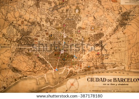 BARCELONA, SPAIN - 22nd MAY, 2015: Ancient map of Barcelona city, Spain