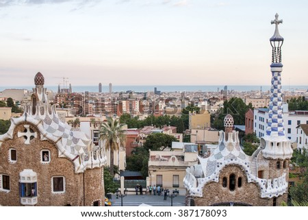 BARCELONA, SPAIN - 22nd MAY, 2015: Details from the famous Park Guell located in Barcelona, Spain.