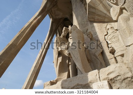 Barcelona, Spain - November 8, 2008 - Relief at the famous La Sagrada Familia cathedral in Spain, a UNESCO World Heritage Site designed by Antoni Gaudi. - stock photo