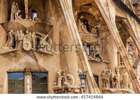 BARCELONA, SPAIN - NOVEMBER 17, 2013: Sculpture of La Sagrada Familia - impressive cathedral designed by Gaudi, which is being build since 19 March 1882 and is not finished yet.  - stock photo