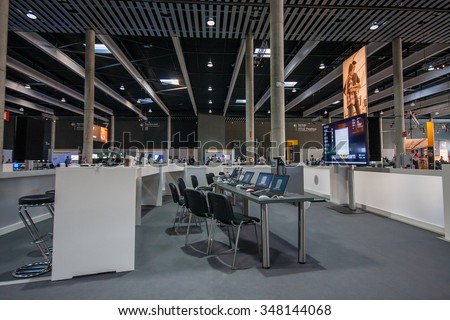 BARCELONA, SPAIN - NOVEMBER 10, 2015: Training zone with notebooks on tables at SAP TechEd 2015 conference at Fira Barcelona Gran Via Exhibition Center on November 10, 2014 in Barcelona, Spain - stock photo