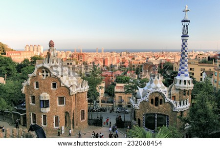 BARCELONA, SPAIN - OCTOBER 12, 2007: Barcelona, Park Guell designed by famous architect Antonio Gaudi