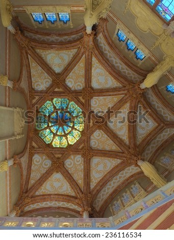 BARCELONA, SPAIN, OCTOBER 24, 2014: Detail of decoration of the historical complex of former monastery and hospital -  Hospital de la Santa Creu i Sant Pau