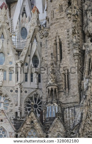 BARCELONA, SPAIN - OCTOBER 08, 2015: Details of Sagrada Familia is a Roman Catholic Cathedral in Barcelona, designed by Catalan architect Antoni Gaudi. - stock photo