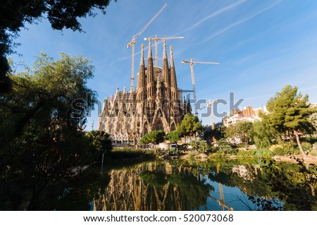 Barcelona, Spain -October 10, 2011: La Sagrada Familia, the cathedral designed by Antoni Gaudi, which is being build since 19 March 1882 and still is under construction.