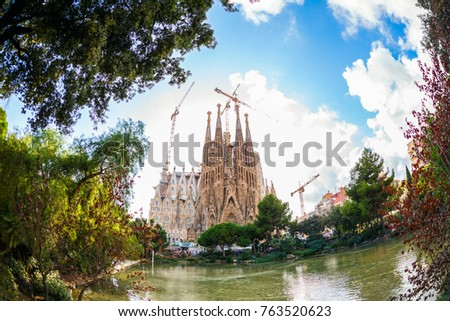 BARCELONA, SPAIN - OCTOBER 14, 2017: La Sagrada Familia, the cathedral has being built since March the 19th, 1882 for donations of people