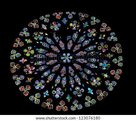 BARCELONA, SPAIN--OCTOBER 19:Large rose stained glass window in St Maria del Pi, Saint Mary of Pine Tree, in Barcelona, Catalonia, Spain on October 19, 2012. - stock photo