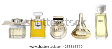 Barcelona-Spain- October 2014: Luxury fragrances for stylish woman.  Fine and luxury brands:  CHLOE,  CHANEL Number 5, IDOLE by Armani, IDYLLE by Guerlain, CAROLINA HERRERA - stock photo