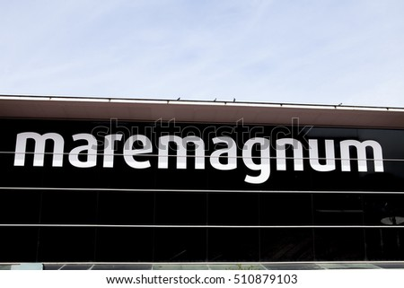 BARCELONA,SPAIN-OCTOBER 16, 2016: Maremagnum, commercial shopping centre, located in Port Vell of Barcelona, sign.
