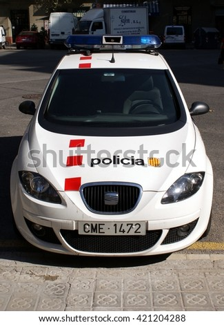 BARCELONA, SPAIN - OCTOBER 14, 2009: Mossos dâ??Esquadra Police forces car parking in Barcelona, Spain.