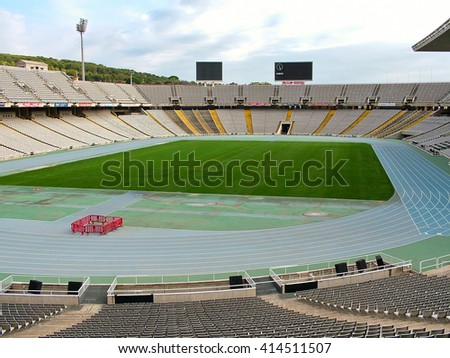 Barcelona, Spain - October 1, 2015 - Olympic Stadium on Montjuic Mountain. Games 1992