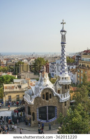BARCELONA, SPAIN - OCTOBER 09,2015 : Park Guel in Barcelona, Spain. Park Guell (1914) is the famous architectural town art designed by Antoni Gaudi.