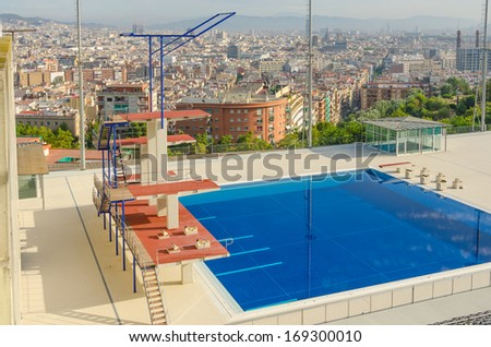 Barcelona - Spain, Olympic swimming pool - stock photo