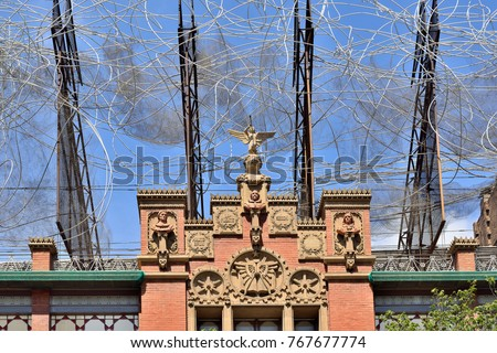 BARCELONA, SPAIN .Sculpture of Antoni Tapies on the top of the Fundacio Antoni Tapies building. The museum is located in Carrer d'Arago
