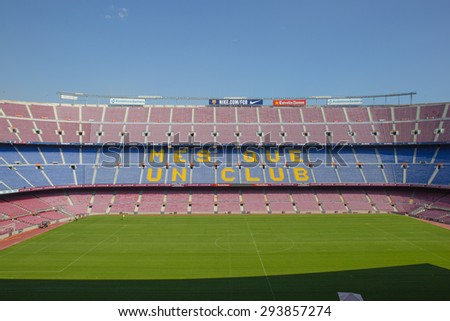 BARCELONA, SPAIN - Sep 30: Camp Nou, Stadium of Football Club Barcelona on September 30, 2014in Barcelona, Spain. - stock photo