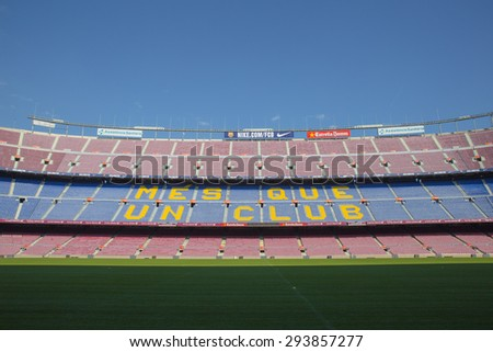 BARCELONA, SPAIN - Sep 30: Camp Nou, Stadium of Football Club Barcelona on September 30, 2014in Barcelona, Spain.