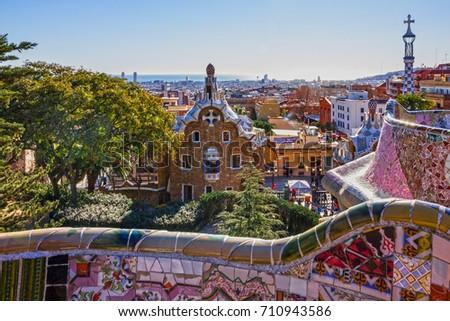 Barcelona Spain Sep 6 2017 Park Stock Photo 710943586