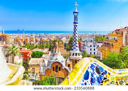 BARCELONA, SPAIN - SEPT 02,2014 :Amazing Park Guel in Barcelona.  Park Guell (1914) is the famous architectural town art designed by Antoni Gaudi. Event September 02, 2014 in Barcelona, Spain - stock photo