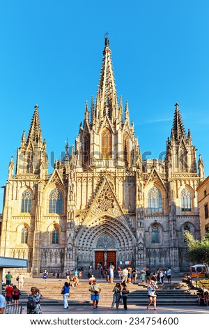 BARCELONA, SPAIN - SEPT 02,2014:Beautiful  view of  Gothic Quarter in the heart of Barcelona.The most popular city in the Mediterranean resort in Spain.September 02, 2014 in Barcelona, Catalonia. - stock photo