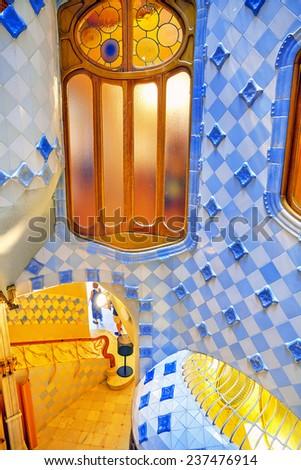 BARCELONA, SPAIN - SEPT  04, 2014: Interior and inner chambers Gaudi's  creation house Casa Batlo.  now Casa Batllo was built in 1877 by Antoni Gaudi. September 04, 2014 in Barcelona, Spain. - stock photo