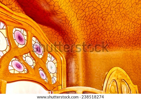 BARCELONA, SPAIN - SEPT  04, 2014: Interior and inner chambers Gaudi's  creation house Casa Batlo.Casa Batllo was built in 1877 by Antoni Gaudi. September 04, 2014 in Barcelona, Spain. - stock photo