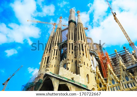 BARCELONA SPAIN - SEPT 25, 2013: La Sagrada Familia - the impressive cathedral designed by Gaudi, which is being build since 19 March 1882 and is not finished .