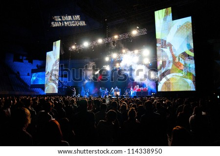 BARCELONA, SPAIN - SEPT 29: Manic Street Preachers band performs at Palau Sant Jordi on September 29, 2012 in Barcelona, Spain. Dia de San Miguel Festival. - stock photo