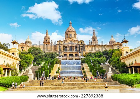 BARCELONA, SPAIN -  SEPT 04: National Art Museum of Catalonia. Museum of Barcelona, has collections of Modern Art and the Museum of Art. September 04, 2014 National Museum  in Barcelon. Spain. - stock photo