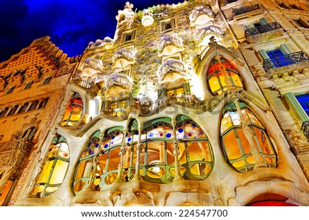 BARCELONA, SPAIN - SEPT  04, 2014: Night outdoor view  Gaudi's  creation-house Casa Batlo. The building that is now Casa Batllo was built in 1877 by Antoni Gaudi. - stock photo