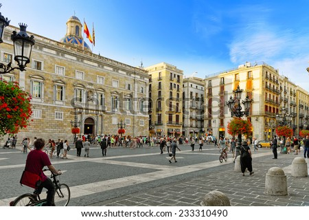 BARCELONA, SPAIN - SEPT  01, 2014: Placa de Sant Jaume.The central area of Barcelona, the building of the Government of Catalonia  September 01, 2014 in Barcelona, Spain. - stock photo
