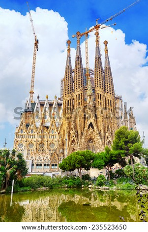 BARCELONA, SPAIN - SEPT 02, 2014: The Basilica of La Sagrada Familia against blue sky.Most amazing  and fabulous creations of the great architect  by Antoni Gaudi