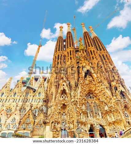 BARCELONA, SPAIN-SEPT 02, 2014:The Basilica of La Sagrada Familia .Most amazing  and fabulous creations of the great architect  by Antoni Gaudi, its construction began in 1882 and is not finished yet. - stock photo